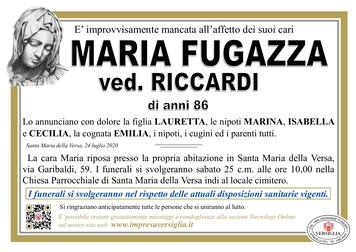 Necrologio di FUGAZZA MARIA