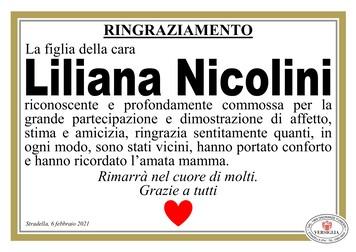 Ringraziamenti per NICOLINI LILIANA