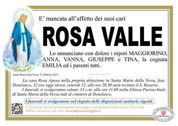 Necrologio di VALLE ROSA