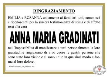 Ringraziamenti per GRADINATI ANNA MARIA