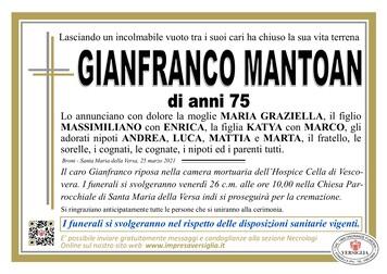 Necrologio di MANTOAN GIANFRANCO