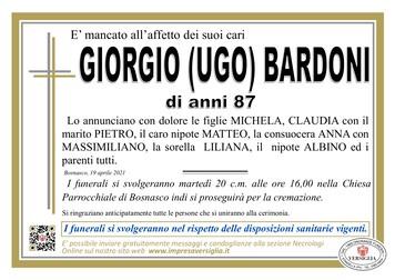 Necrologio di GIORGIO (UGO) BARDONI