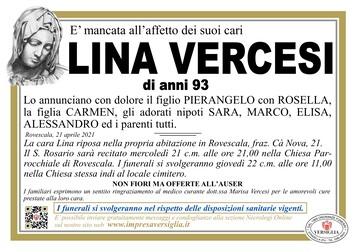 Necrologio di VERCESI LINA