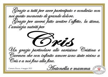 Ringraziamenti per CALVI CRIS