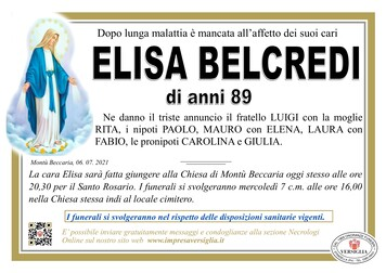 Necrologio di BELCREDI ELISA