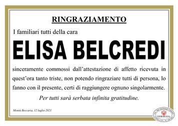 Ringraziamenti per BELCREDI ELISA