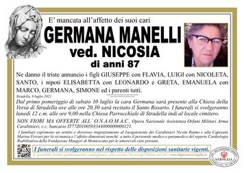 Necrologio di MANELLI GERMANA