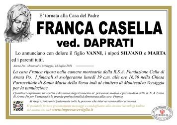 Necrologio di CASELLA FRANCA
