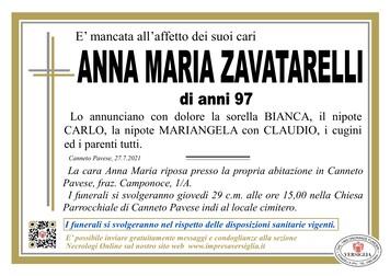 Necrologio di ZAVATARELLI ANNA MARIA