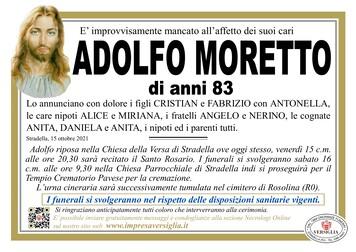 Necrologio di MORETTO ADOLFO