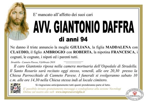 Necrologio di Avv. Giantonio Daffra
