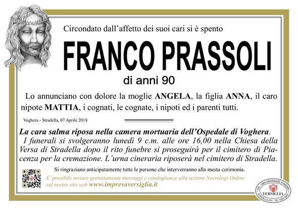 Necrologio di PRASSOLI FRANCO