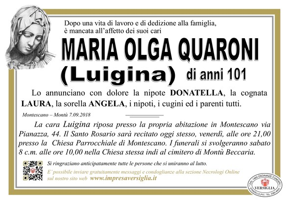 Necrologio di Maria Olga Quaroni