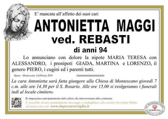 Necrologio di Antonietta Maggi