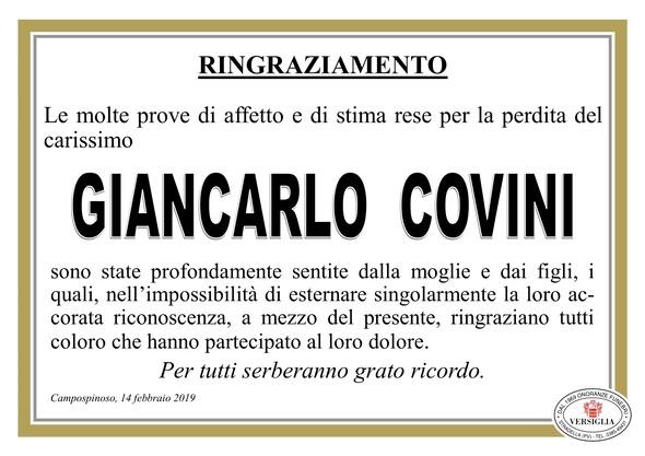 Ringraziamenti per Giancarlo Covini