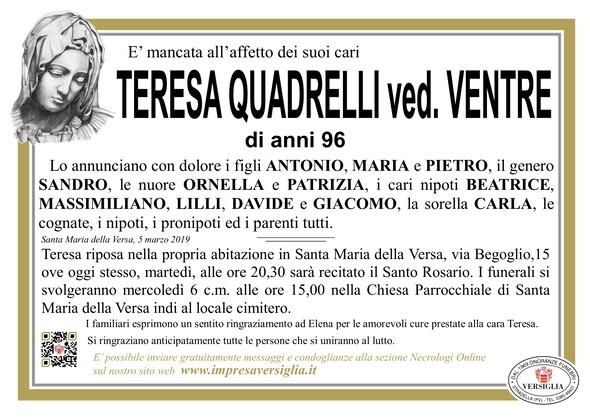 Necrologio di Quadrelli Teresa