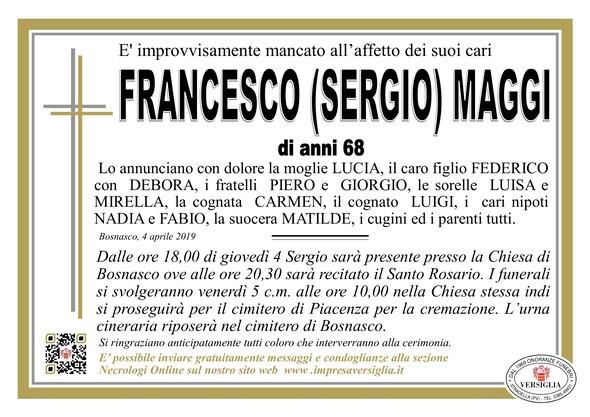 Necrologio di Francesco (Sergio) Maggi