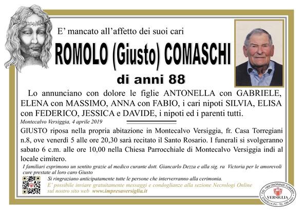Necrologio di Romolo (Giusto) Comaschi
