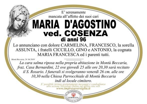 Necrologio di Maria D'Agostino