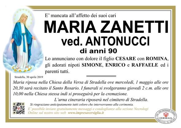 Necrologio di Maria Zanetti