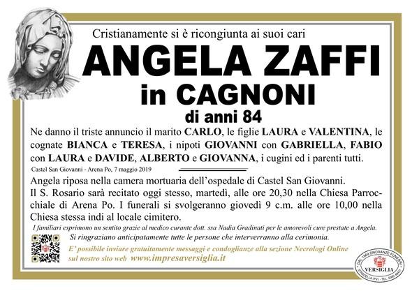 Necrologio di Angela Zaffi