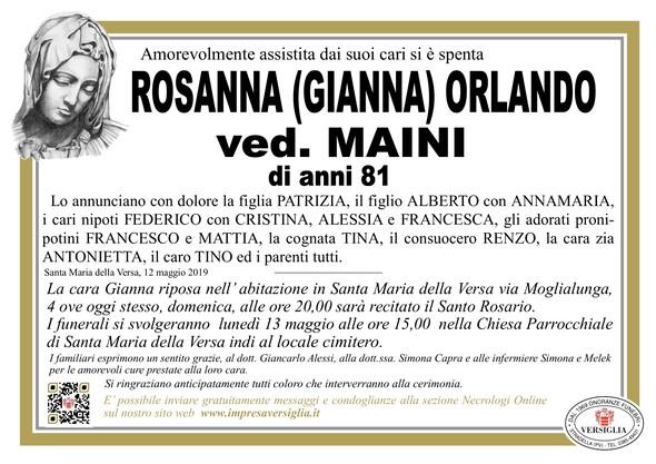Necrologio di Rosanna (Gianna) Orlando