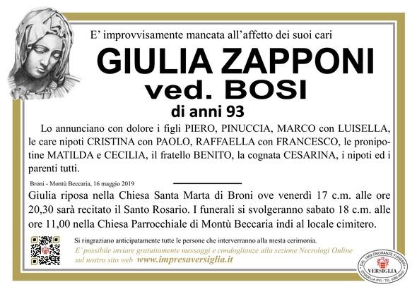Necrologio di Zapponi Giulia