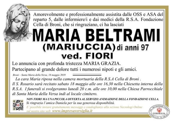 Necrologio di Maria Beltrami (Mariuccia)