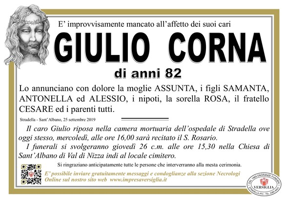 Necrologio di Corna Giulio