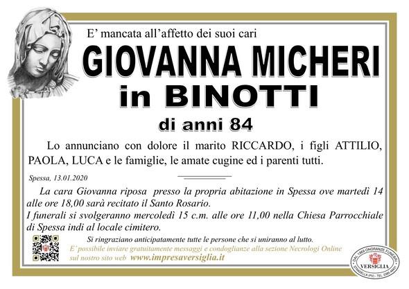 Necrologio di Micheri Giovanna