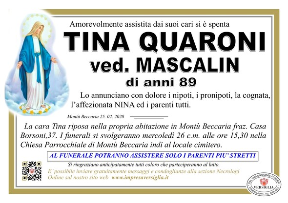 Necrologio di Quaroni Tina