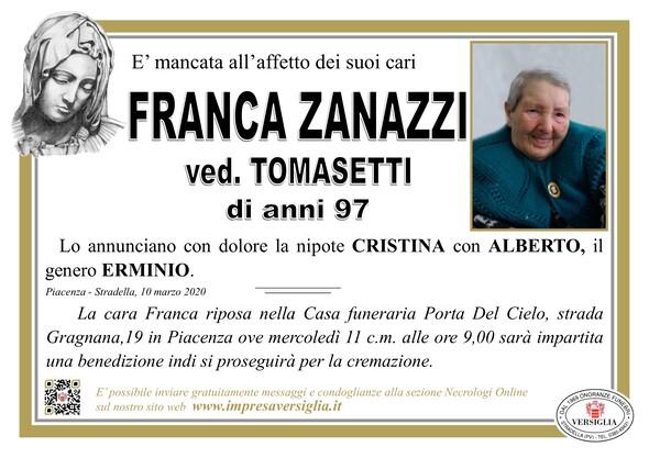 Necrologio di Zanazzi Franca