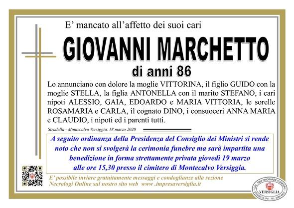 Necrologio di Marchetto Giovanni