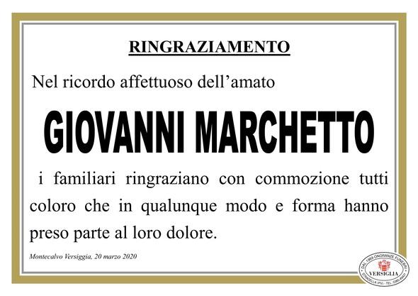 Ringraziamenti per Marchetto Giovanni