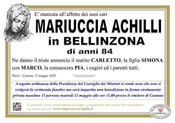 Necrologio di Achilli Mariuccia