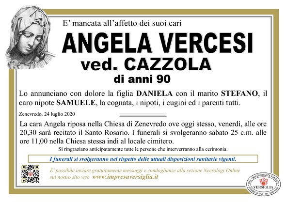 Necrologio di VERCESI ANGELA