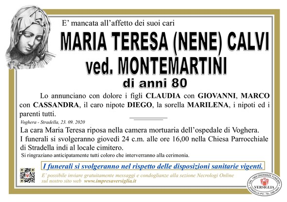 Necrologio di CALVI MARIA TERESA