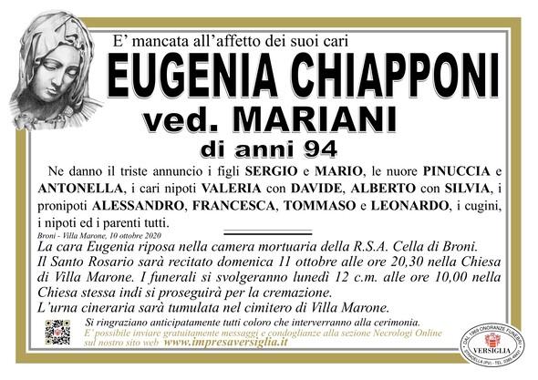 Necrologio di CHIAPPONI EUGENIA