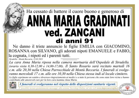 Necrologio di GRADINATI ANNA MARIA