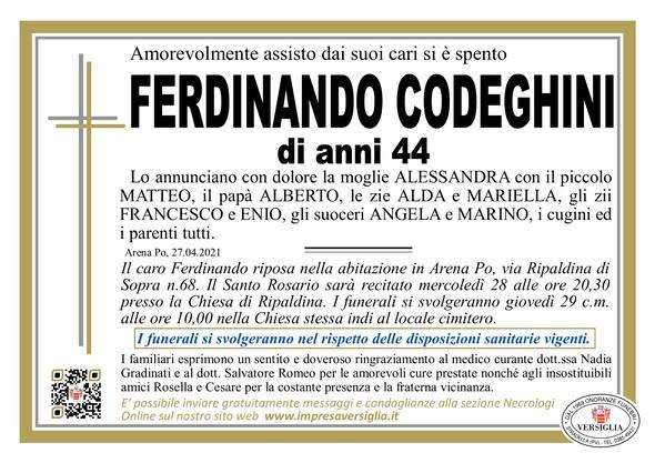 Necrologio di CODEGHINI FERDINANDO