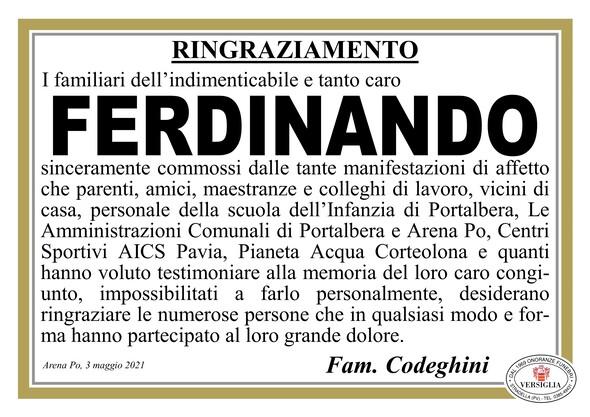 Ringraziamenti per CODEGHINI FERDINANDO