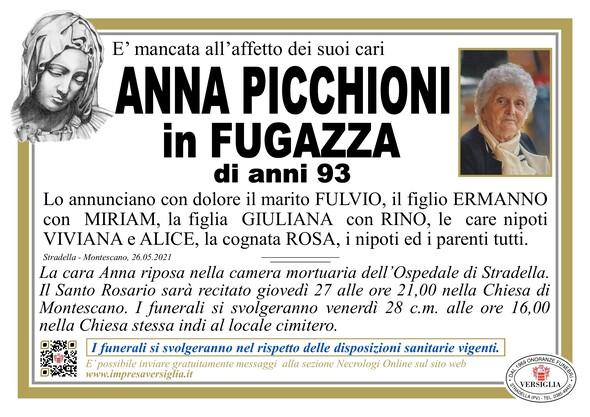 Necrologio di PICCHIONI ANNA