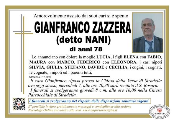 Necrologio di ZAZZERA GIANFRANCO