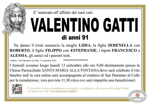 Necrologio di VALENTINO GATTI